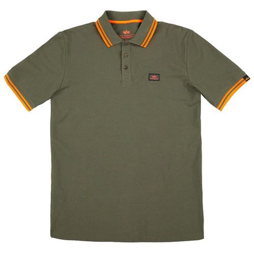 Alpha Industries Tričko  Twin Stripe Polo II olivové S