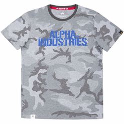 Alpha Industries Tričko  Blurred T grey camo L