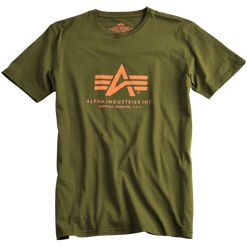 Alpha Industries Tričko  Basic T-Shirt zelená khaki 5XL