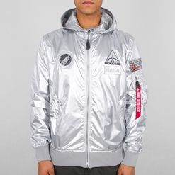 Alpha Industries Bunda  MA-1 LW Hooded NASA stříbrná L