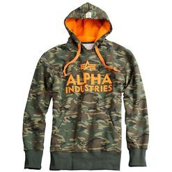 Alpha Industries Mikina  Foam Print Hoody woodland 3XL