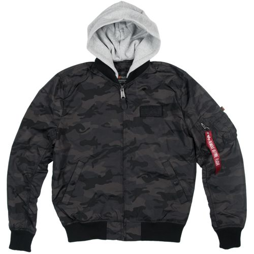Alpha Industries Bunda  MA-1 TT Hood black camo 3XL